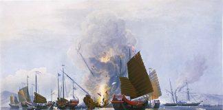 Juncos chineses sob bombardeio britânico durante a Guerra do Ópio, por E._Duncan_(1843)
