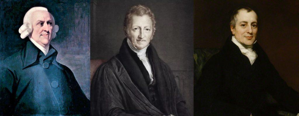 Adam Smith, Thomas Malthus e David Ricardo.