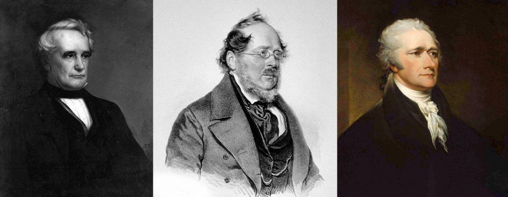 Henry Carey, Friederich List e Alexander Hamilton.